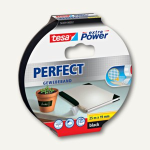 "Tesa Gewebeband extra Power ""PERFECT"", 19 mm x 25 m, schwarz, 56339-00002-01"