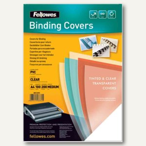 Fellowes Deckblatt, DIN A4, PVC, 0.20 mm, blau-transparent, 100 Stück, 5377101