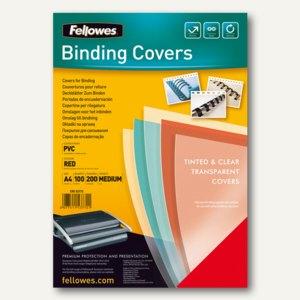 Fellowes Deckblatt, DIN A4, PVC, 0.20 mm, rot-transparent, 100 Stück, 5377201