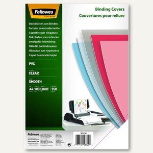 Fellowes Deckblatt, DIN A4, PVC, 0.15 mm, transparent, 100 Stück, 5376001