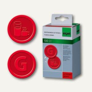 """Sigel Wertmarken """"Getränke"""", Kunststoff, wiederverwendbar, rot, 100 Stück, WM006"""