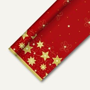 """Papstar Tischdecke """"Just Stars rot"""", stoffähnlich, 1.18 x 25 m, 4er-Pack, 82583"""
