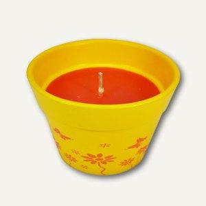 Terracottatopf mit farbiger Wachsfüllung, Ø 115mm, H 75mm, gelb, 6 St., 85139