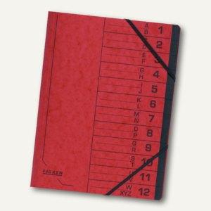 Falken Ordnungsmappe, DIN A4, Karton, 12 Fächer, rot, 11288107
