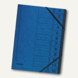 Falken Ordnungsmappe, DIN A4, Karton, 12 Fächer, blau