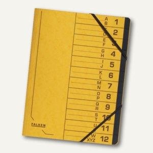 Falken Ordnungsmappe, DIN A4, Karton, 12 Fächer, gelb, 11288222