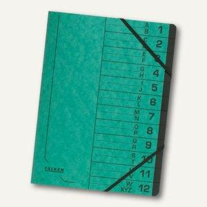 Falken Ordnungsmappe, DIN A4, Karton, 12 Fächer, grün, 11288214