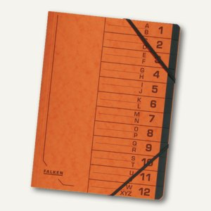 Falken Ordnungsmappe, DIN A4, Karton, 12 Fächer, orange, 11288826