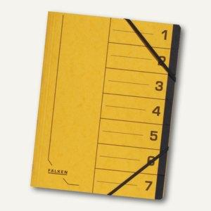 Falken Ordnungsmappe, DIN A4, Karton, 7 Fächer, gelb, 11288073