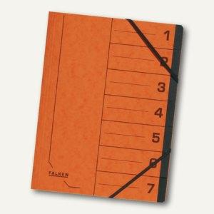 Falken Ordnungsmappe, DIN A4, Karton, 7 Fächer, orange, 11288586