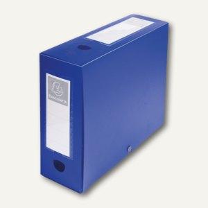 Exacompta Archivbox 24 x 32 cm, Rücken 10 cm, Druckknopf, PP, blau, 59932E