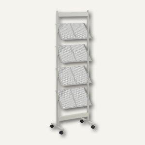 Prospektregal Metall, DIN A4, 8 Fächer, 52 x 165 x 38 cm, silber/grau, PS4108