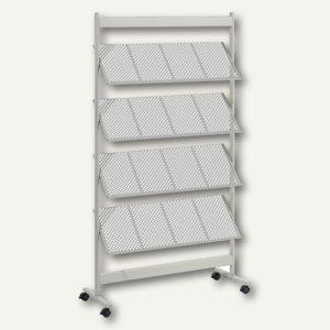 Prospektregal Metall, DIN A4, 16 Fächer, 92 x 165 x 38cm, silber/grau, PS4116