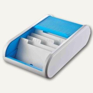 Helit Visitenkartenbox Colours - A8, 136 x 240 x 67 mm, grau/hellblau, H6218030