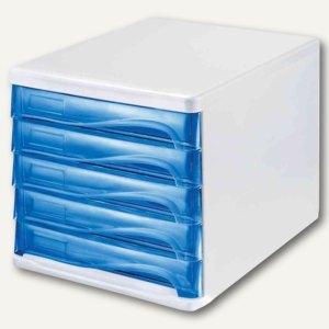 Helit Schubladenbox - DIN A4, 5 Schübe, 265x340x250 mm, weiß/blau, H6129484