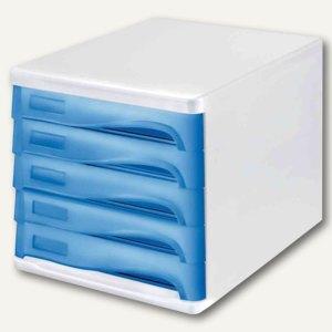 Schubladenbox - DIN A4, 5 Schübe, 265x340x250 mm, weiß/blau-transp., H6129430