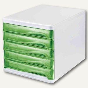 Schubladenbox - DIN A4, 5 Schübe, 265x340x250 mm, weiß/grün-transp., H6129450