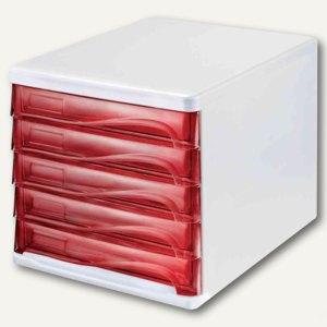 Schubladenbox - DIN A4, 5 Schübe, 265x340x250 mm, weiß/rot-transparent, H6129420