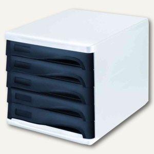 Helit Schubladenbox - DIN A4, 5 Schübe, 265x340x250 mm, weiß/schwarz, H6129498