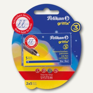 Pelikan Tintenschreiber-Patronen griffix, auf Blisterkarte, blau, 960575