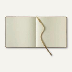 officio Notizbuch, 175 x 175 mm, 240 Seiten, Kalbsleder, blanko, beige, 616233