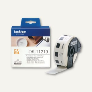 Brother Etiketten - (Ø)12 mm, rund, Papier, weiß, 1.200 Stück, DK11219