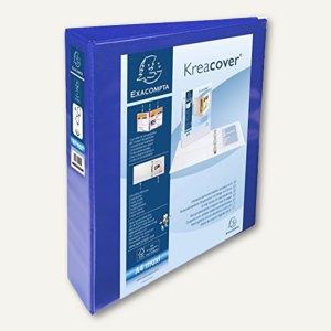 Exacompta Präsentationsringbuch KreaCover - A4+, 4-Ringe Ø 40 mm, blau, 51843BE