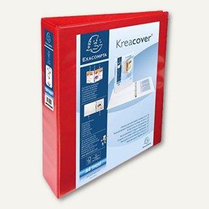 Exacompta Präsentationsringbuch KreaCover - A4+, 4-Ringe Ø 50 mm, rot, 51844RE