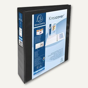 Präsentationsringbuch KreaCover - A4+, 4-Ringe Ø 50 mm, schwarz, 51844NE