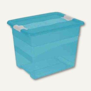 "Aufbewahrungsbox ""Kristall-Box"" 24 Liter, 395 x 295 x 300 mm, PP, Deckel, blau,"