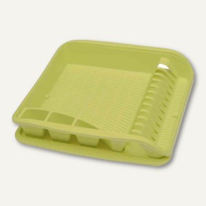Geschirrablaufkorb - groß, mit Tablett, 395 x 395 x 80 mm, grün, 1058627900000