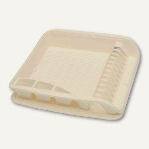 Geschirrablaufkorb - klein, mit Tablett, 395 x 295 x 80 mm, creme, 1058587600000
