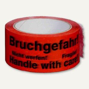 "Signalklebeband ""Bruchgefahr!"" - 50 mm x 66 m, PP, rot, 6St., 245141336"