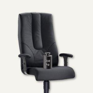 Chefsessel TURBO XXL - bis 200 kg, Sitzhöhe 42–55 cm, Leder, schwarz, 7100XXL-50