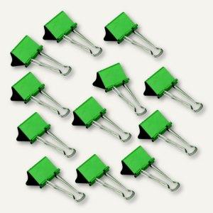 officio Foldback-Klammern, B 32 mm, vernickelt, dunkelgrün, 12 Stück, 783S18
