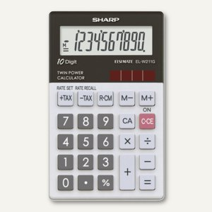 Sharp Taschenrechner EL-W211GGY, Glastop-Design, 70 x 117 x 8.2 mm, ELW211GGY