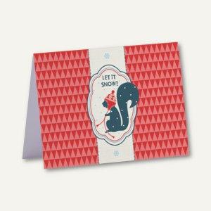 Rössler Weihnachtskarte + Umschlag, B6, LET IT SNOW, 8 Sets, 1190198139