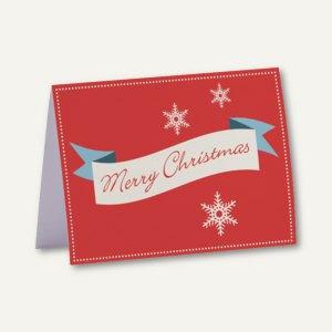 Rössler Weihnachtskarte + Umschlag, B6, MERRY CHRISTMAS, rot, 8 Sets, 1190198144