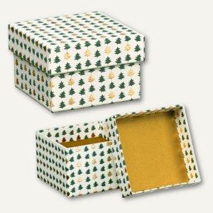Magic Christmas Box, quadratisch, 85x85x55mm, grün/gold, 4 Stück, 13428088000