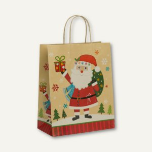 Weihnachten Geschenktasche, 180x230x100mm, St. Claus, 8 Stück, 13718134200