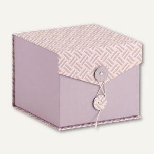 Box mit Klappdeckel, Mauve-Twist - Apricot, 146x146x120mm, 3 Stück, 14501171000