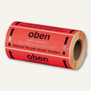 """Hinweis-Etikettenrolle - """"Oben - nicht stürzen"""", 148 x 48 mm, 500 St., 255194230"""