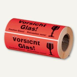 """Hinweis-Etikettenrolle - """"Vorsicht Glas"""", 148 x 48 mm, 500 St., 255194630"""