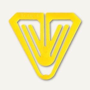 Büroklammern Kunststoff-Klips Butterfly, dreieckig, 50 mm, gelb, 50 Stück, 0174-