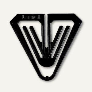 Büroklammern Kunststoff-Klips Butterfly, dreieckig, 50 mm, schwarz, 50 Stück, 01