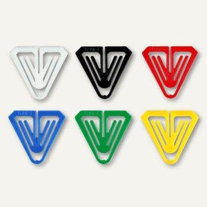 Büroklammern Kunststoff-Klips Butterfly, dreieckig, 50 mm, farbig sortiert, 50 S