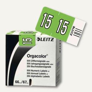 """LEITZ Jahressignal Orgacolor """"15"""", auf Streifen, grün, 500 Stück, 6745-10-55"""