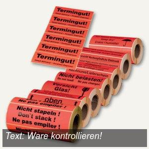 Hinweis-Etikettenrolle - Ware kontrollieren!