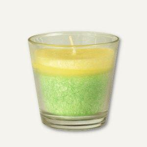 Papstar Duftkerze im Glas, Stearin, Ø 77 mm, H 73 mm, Sweet Apple, 4 Stück,85445