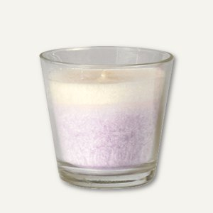 Papstar Duftkerze im Glas, Stearin, Ø 77 mm, H 73 mm, Flieder, 4 Stück, 85444
